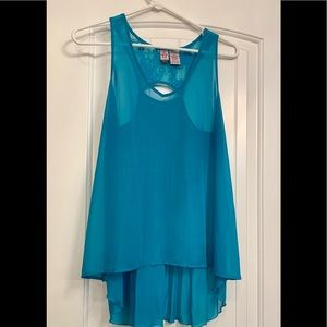 Tops - Turquoise sheer tank